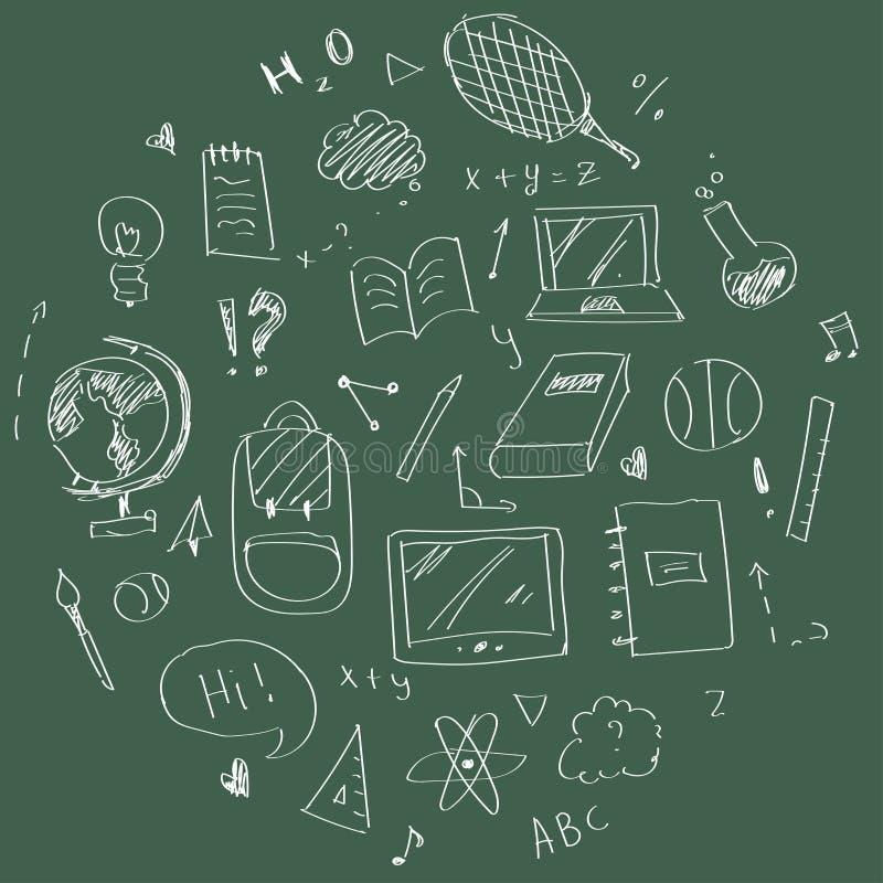 Hand gezeichnete Schuleinzelteile lizenzfreie abbildung