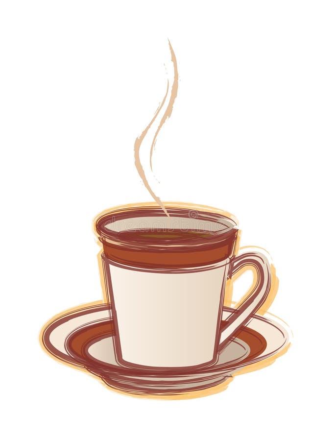 Hand gezeichnete Schutzkappe von cofee stock abbildung