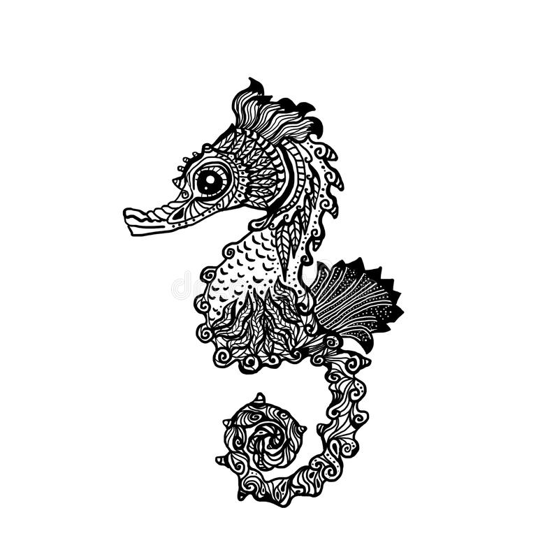 Hand gezeichnete Seepferdchen zentangle Art lizenzfreies stockbild
