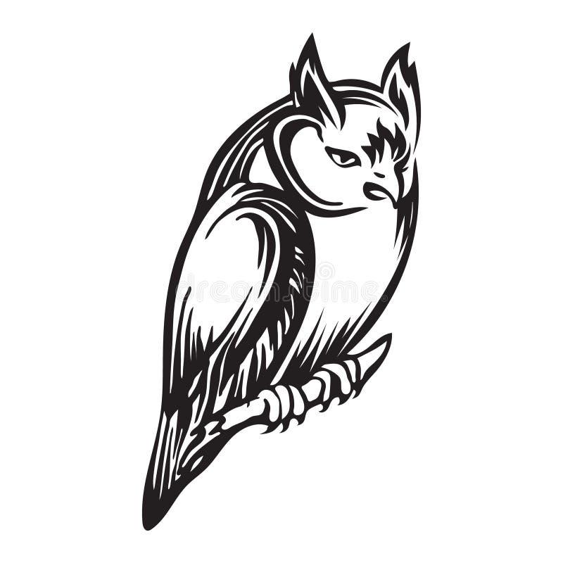 Hand gezeichnete sitzende Eulenentwurfsskizze Tierische schwarze Tintenzeichnung des Vektorvogels lokalisiert auf wei?em Hintergr lizenzfreie abbildung