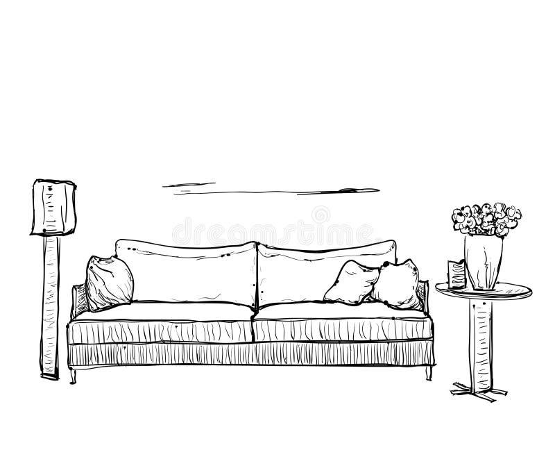 Sofa gezeichnet  Hand Gezeichnete Skizze Des Sofas Mit Kissen Vektor Abbildung ...