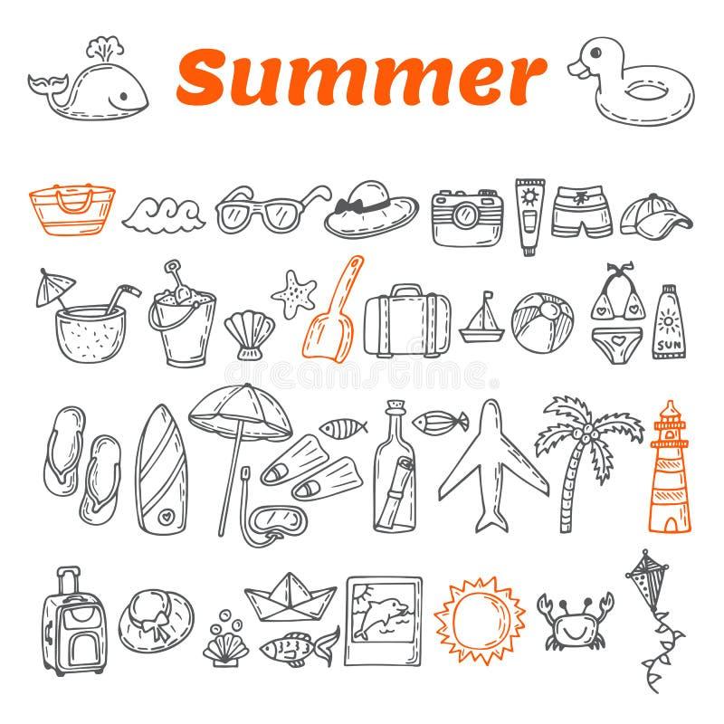 Hand gezeichnete Sommerkollektion Strandthema-Gekritzelsatz Reisecol. vektor abbildung