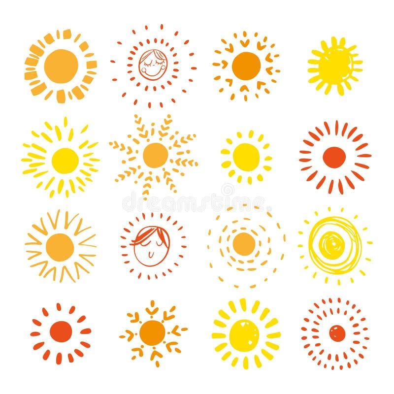 Hand gezeichnete Sonne Coror-Knöpfe eingestellt Stilisierte Sonne Auch im corel abgehobenen Betrag vektor abbildung