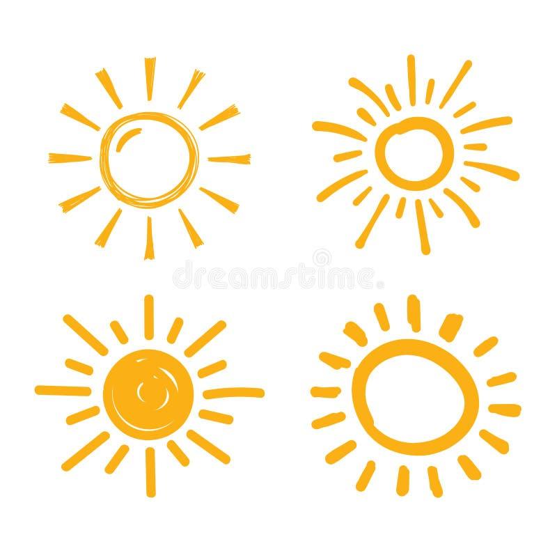 Hand gezeichnete Sonnen stock abbildung