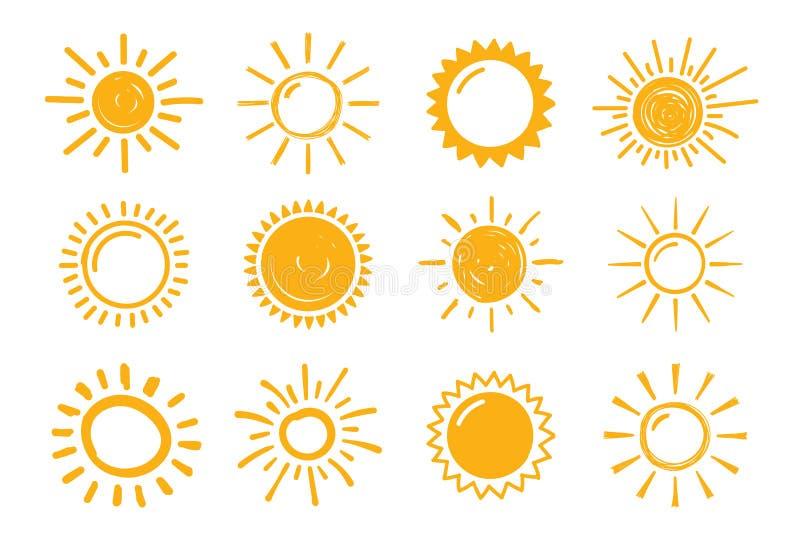 Hand gezeichnete Sonnen vektor abbildung