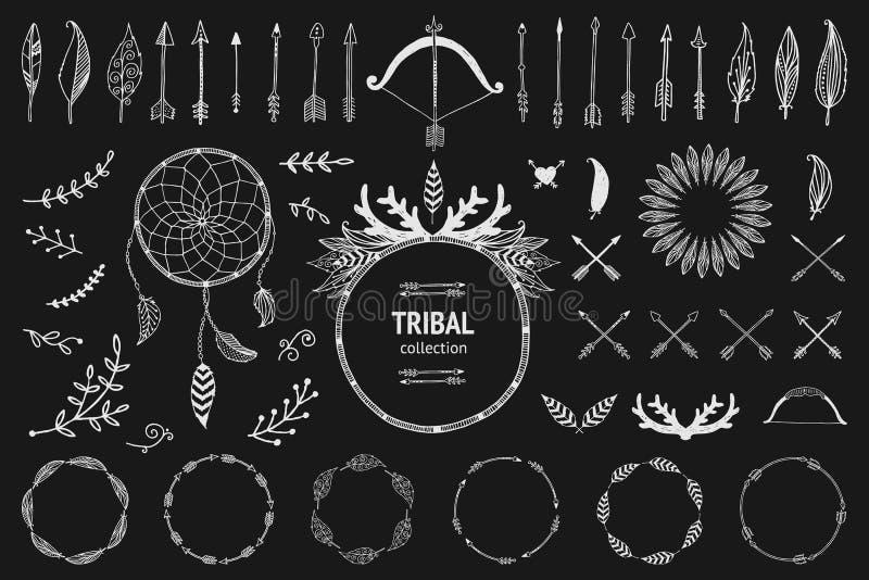 Hand gezeichnete Stammes- Sammlung mit Pfeil und Bogen vektor abbildung