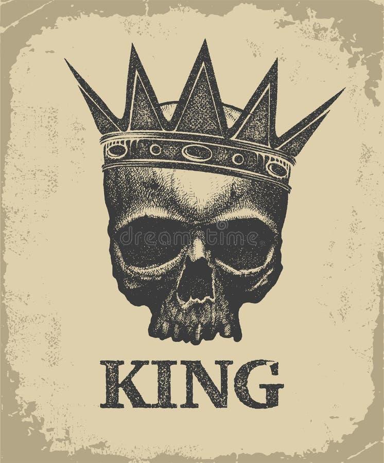 Hand gezeichnete tragende Krone Königschädels stock abbildung