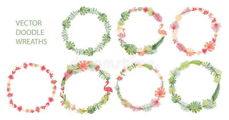 Hand gezeichnete tropische Blumenkranzsammlung vektor abbildung