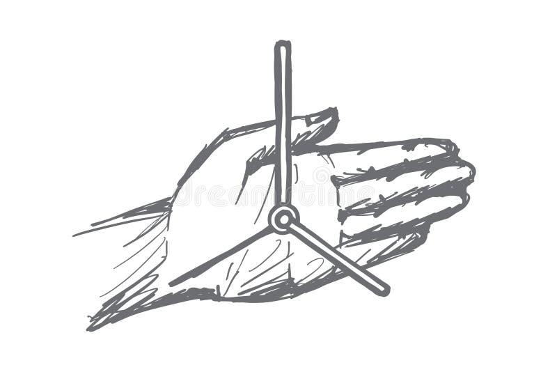 Hand gezeichnete Uhrhände auf menschlicher Palme lizenzfreie abbildung