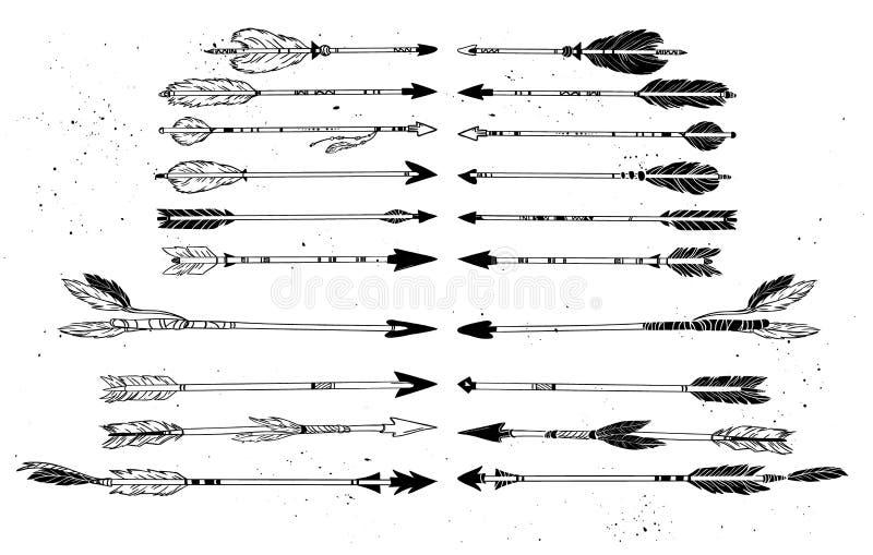 Hand gezeichnete vektorabbildung Dekorative Pfeile der Weinlese vektor abbildung