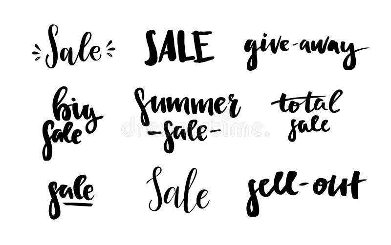 Hand gezeichnete vektorabbildung Verkauf Handbeschriftungs-Weinlese quot stock abbildung