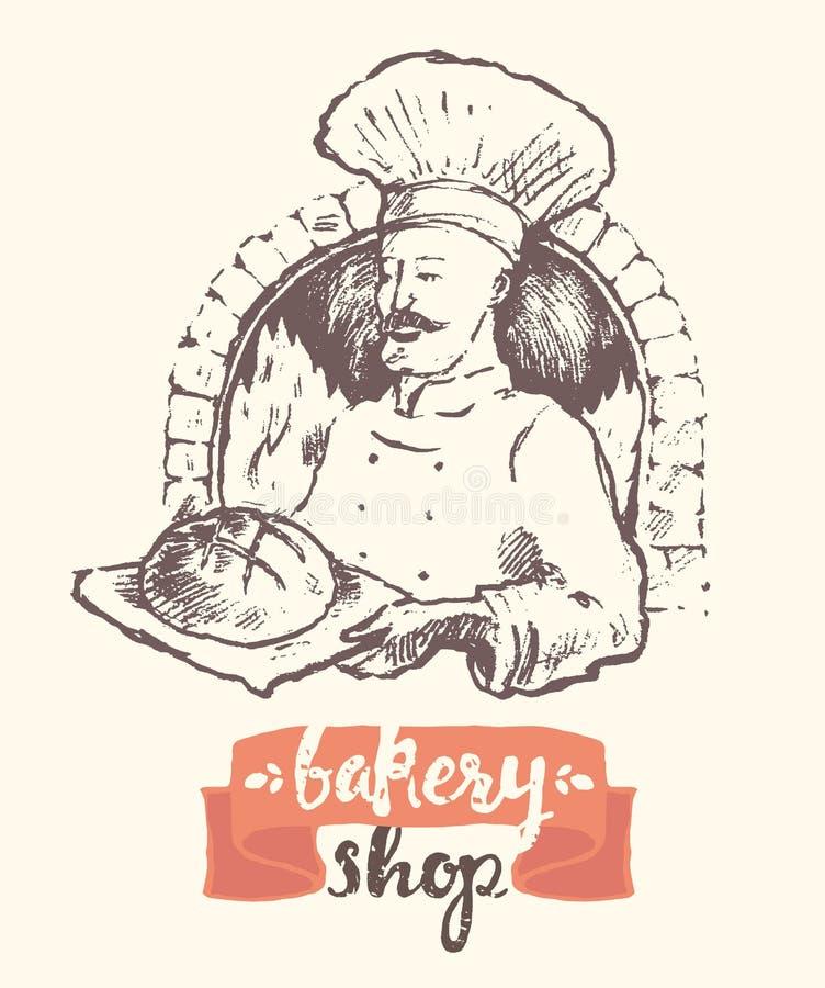 Hand gezeichnete Vektorbäckermannbäckerei-Shopskizze stock abbildung