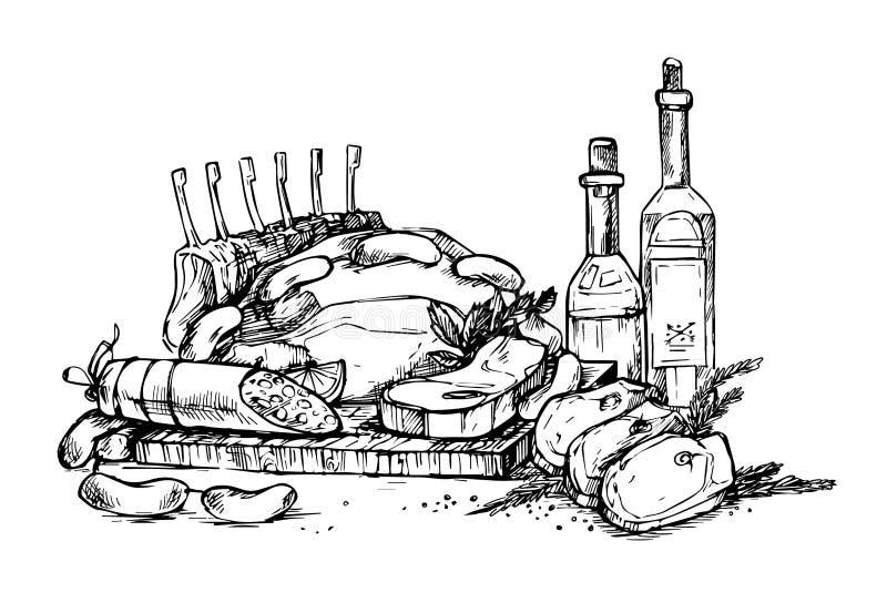 Hand gezeichnete Vektorillustration - Bauernhoffleisch Gemischtwarenladen vektor abbildung