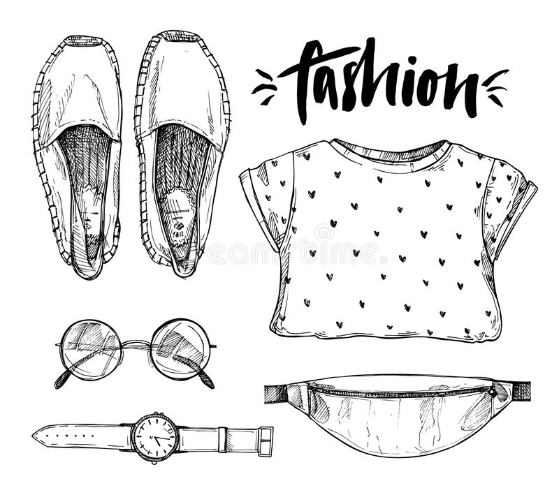 Hand gezeichnete Vektorillustration - Mode-Accessoires lizenzfreie abbildung