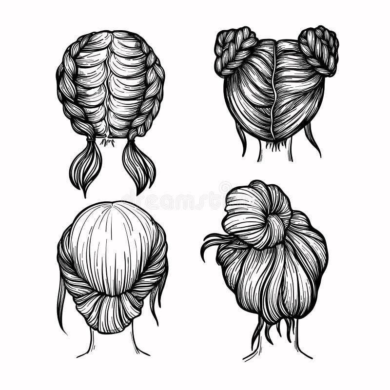 Hand gezeichnete Vektorillustration - Satz Damen arbeiten Frisur um stock abbildung