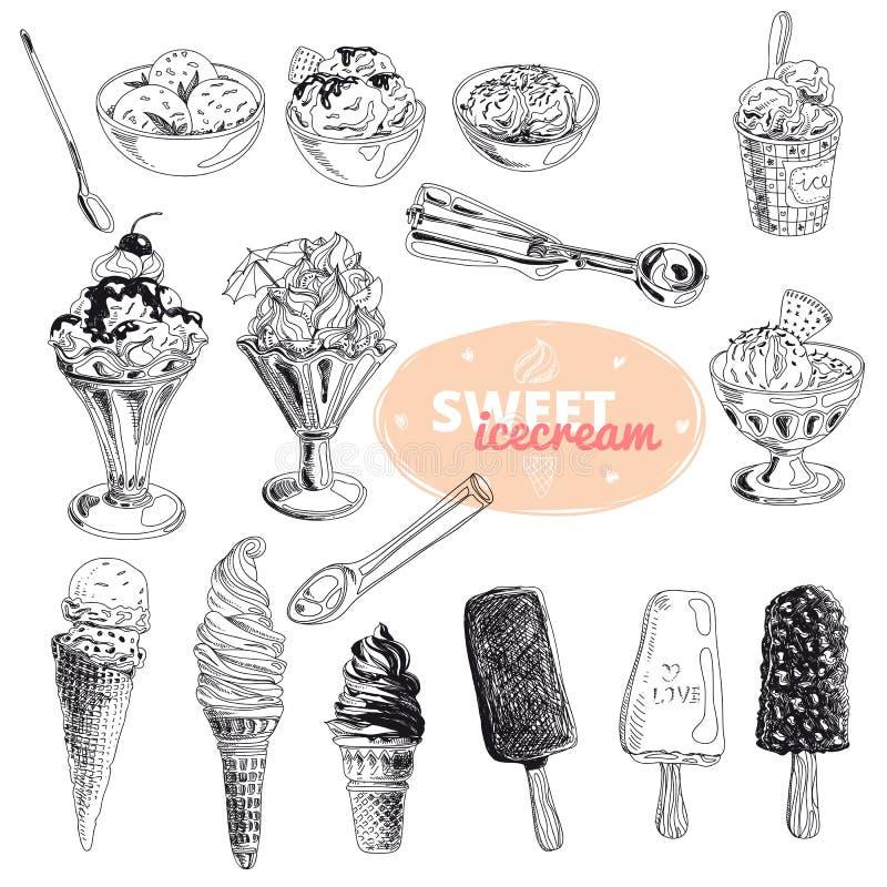 Hand gezeichnete Vektorillustration stellte mit Eiscreme ein stock abbildung
