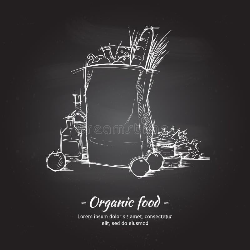 Hand gezeichnete Vektorillustration - Supermarkteinkaufstasche lizenzfreie abbildung