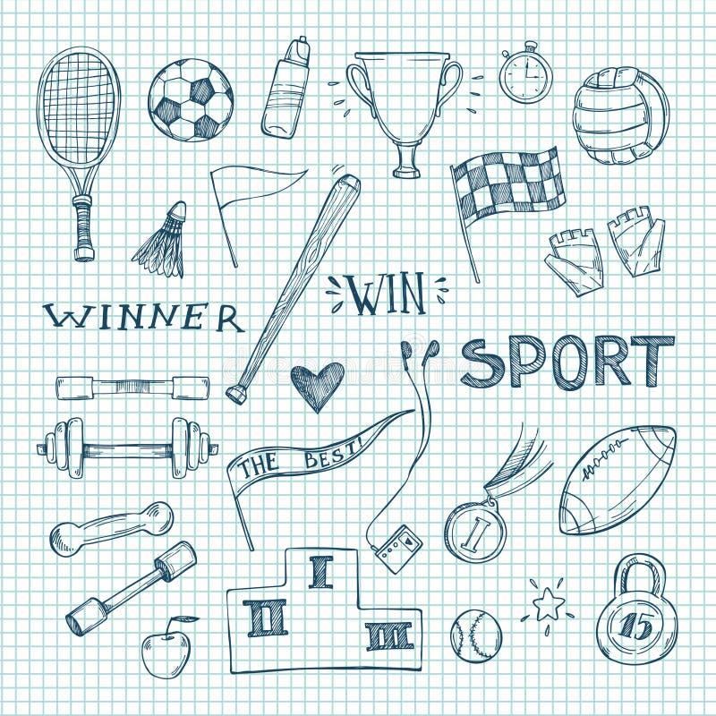 Hand gezeichnete Vektorillustrationen Sport- und Eignungssatz vektor abbildung
