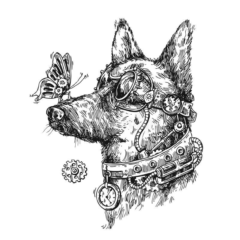Hand gezeichnete Vektorskizze des Hundes Steampunk-Artillustration lizenzfreie abbildung