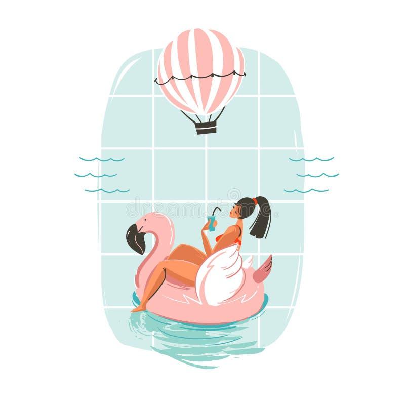 Hand gezeichnete Vektorzusammenfassungsspaß-Sommerzeit-Illustrationskarte mit Mädchenschwimmen auf rosa Flamingoflosskreis im Bla stock abbildung