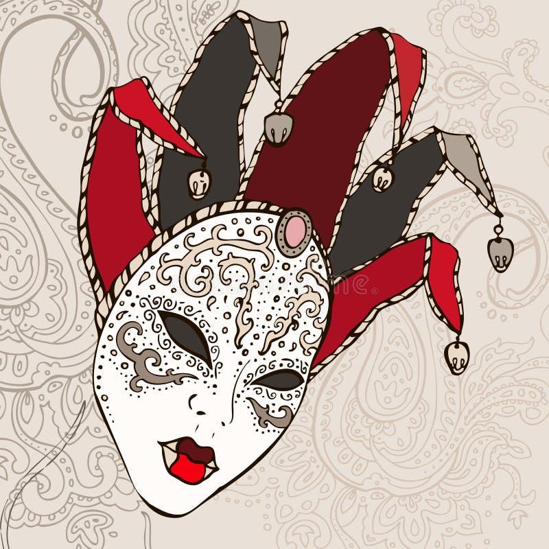 Hand gezeichnete Venecian Karnevalsschablone. lizenzfreie abbildung