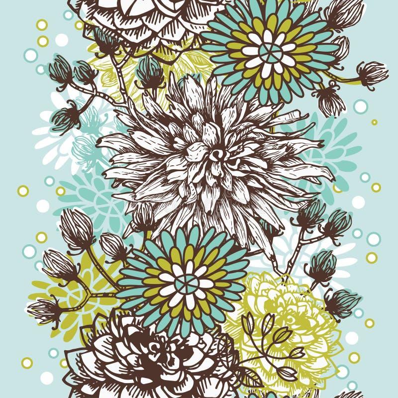 Hand gezeichnete vertikale nahtlose mit Blumengrenze der Weinlese lizenzfreie abbildung