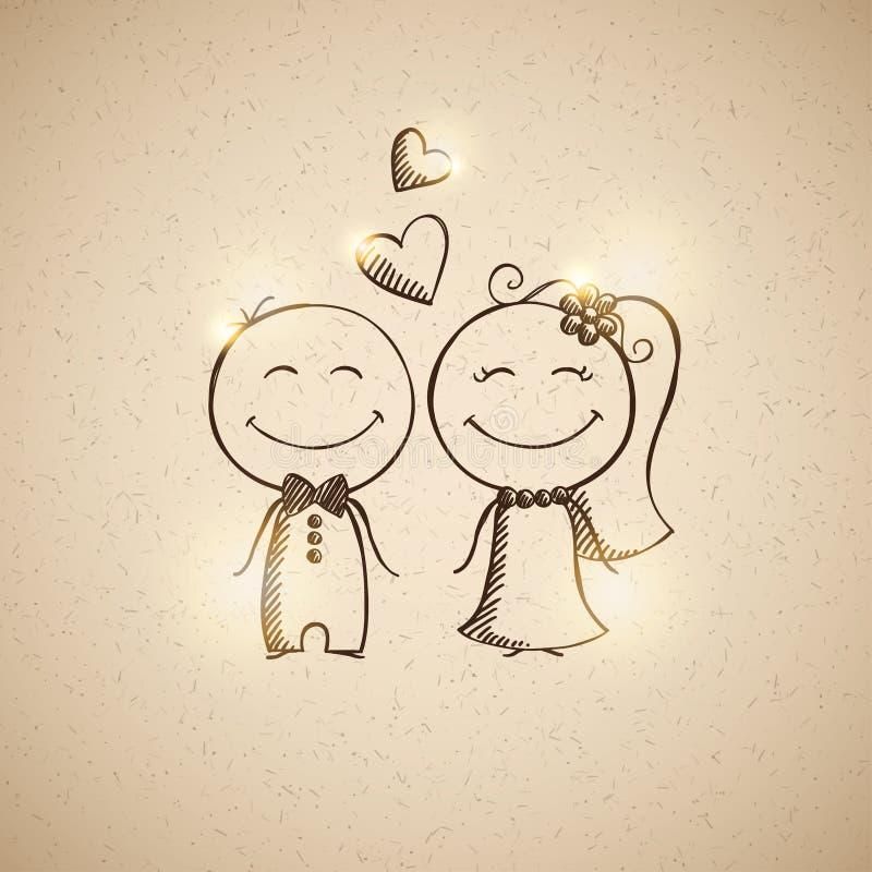 Hand gezeichnete wedding Paare lizenzfreie abbildung