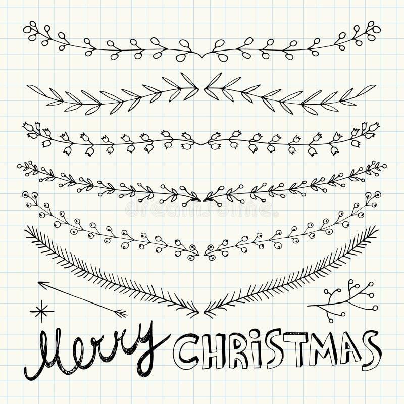 Hand gezeichnete Weihnachtsdekorative Elemente, -gekritzel und -grenzen stock abbildung