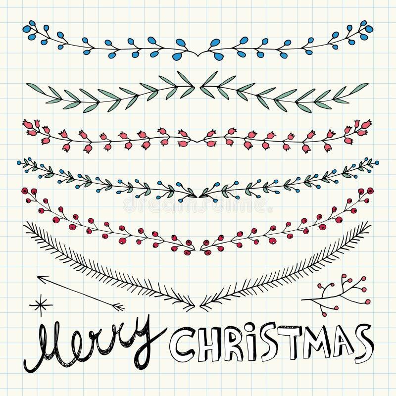 Hand gezeichnete Weihnachtsdekorative Elemente, -gekritzel und -grenzen vektor abbildung
