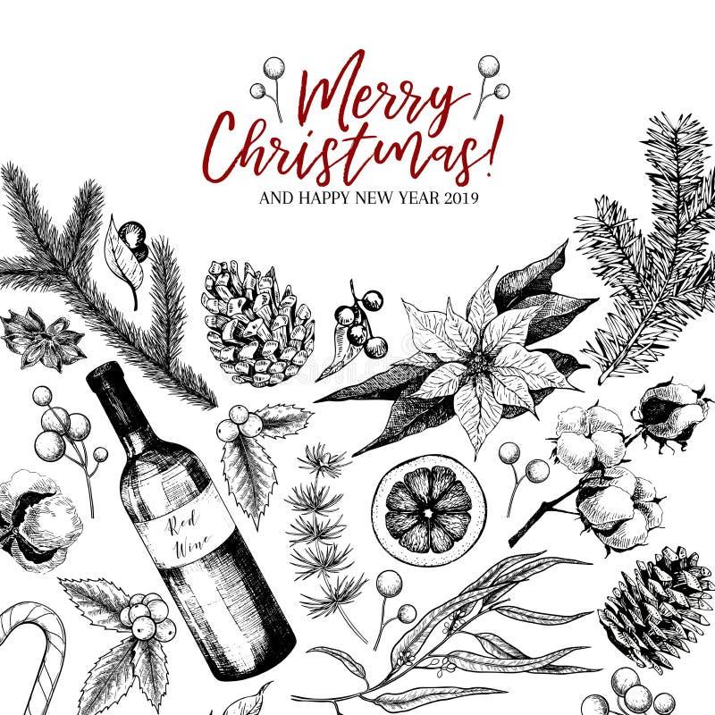 Hand gezeichnete Weihnachtsgrußkarte Vector Kiefernniederlassung, Tanne, Eukalyptus, Stechpalme, Baumwolle, Poinsettia, Weinflasc stock abbildung