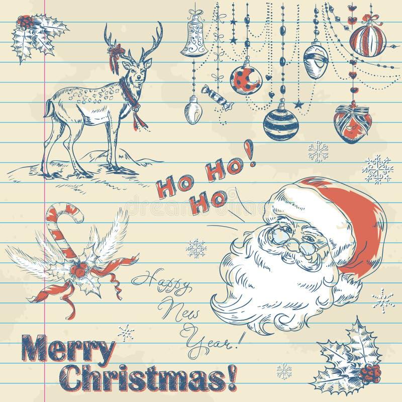 Hand gezeichnete Weinlese Weihnachtselemente lizenzfreie abbildung