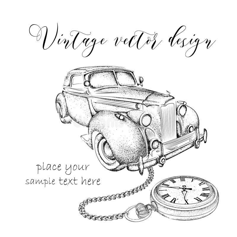 Taschenuhr gezeichnet  Hand Gezeichnete Weinlesepostkarte Ein Auto Mit Taschenuhr Auf ...