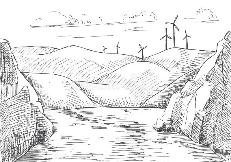 Hand gezeichnete Windmühlen vor dem hintergrund der Berge und des Wassers lizenzfreie abbildung