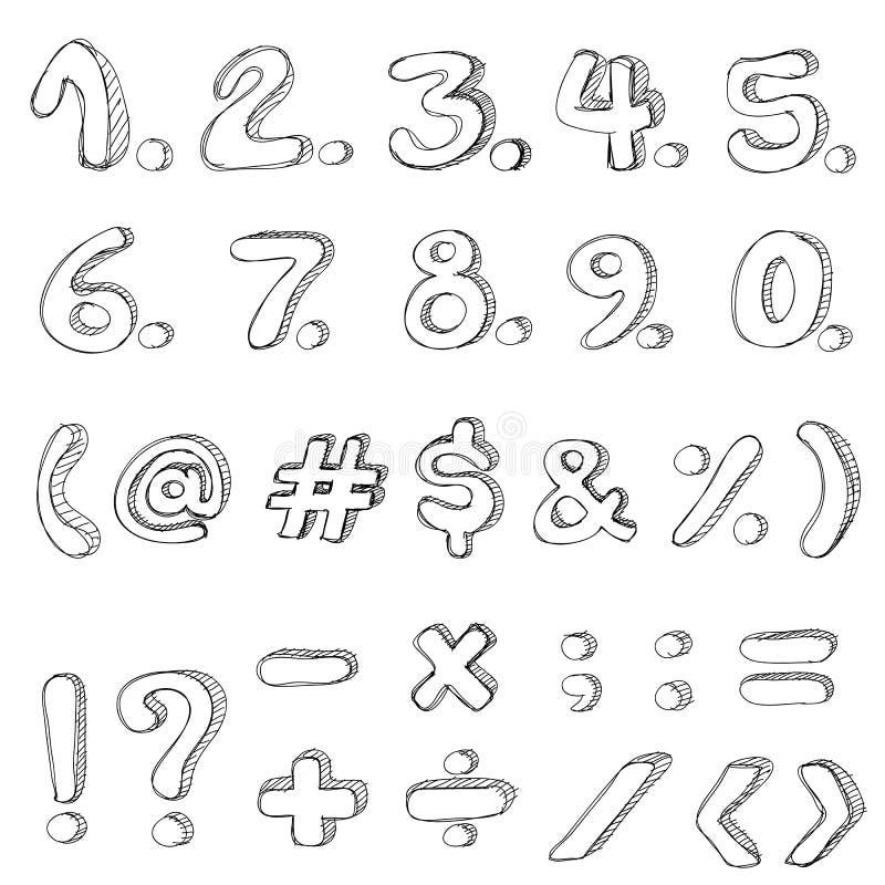 Hand gezeichnete Zahlen lokalisiert auf weißem Hintergrund lizenzfreie abbildung
