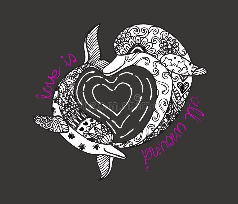 Hand gezeichnete Zenkunst von zwei netten Delphinen mit herziger Formseewelle und -slogan LIEBE IST- GANZ HERUM für T-Shirt Druck lizenzfreie abbildung