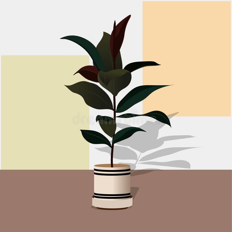 Hand gezeichnete Zimmerpflanzen Skandinavische Artillustration stock abbildung