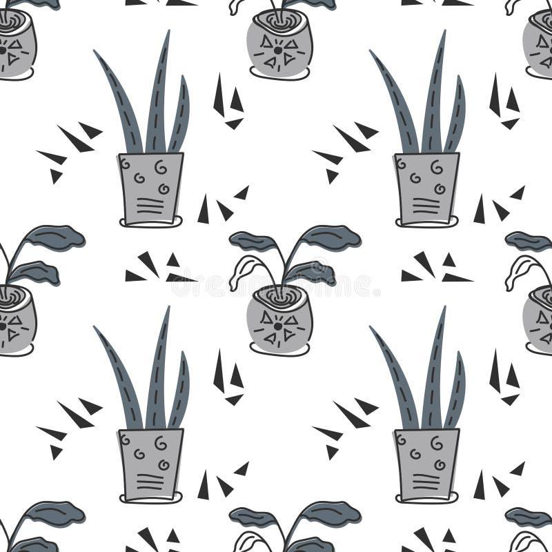 Hand gezeichnete Zimmerpflanzen Skandinavische Artillustration, nahtloses Muster f?r Gewebe-, Tapeten- oder Verpackungspapier stock abbildung
