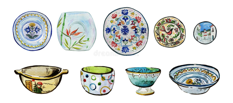Hand gezeichneter Aquarellillustrationssatz verzierte keramische Platten, Schüsseln und Teller stock abbildung