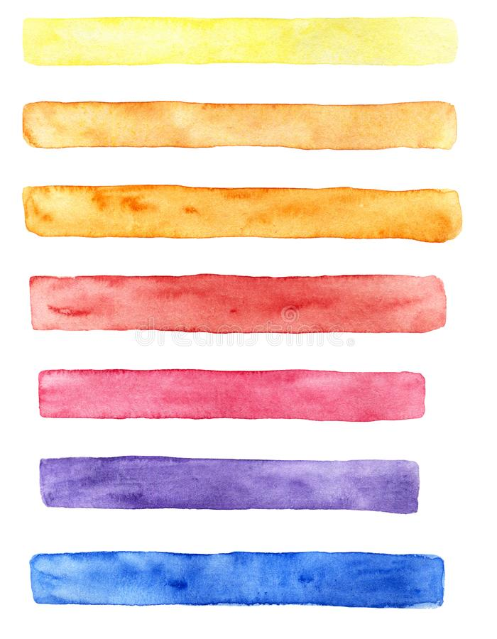 Hand gezeichneter Aquarellsatz Bürstenanschläge von verschiedenen Farben: gelb, orange, rot, Blau und Purpur vektor abbildung