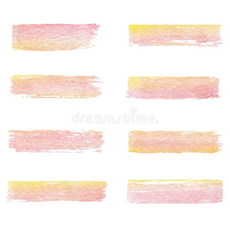 Hand gezeichneter Aquarellsatz Bürstenbeschaffenheiten von rosa und gelben Farben auf dem weißen Hintergrund Vektor lizenzfreie abbildung