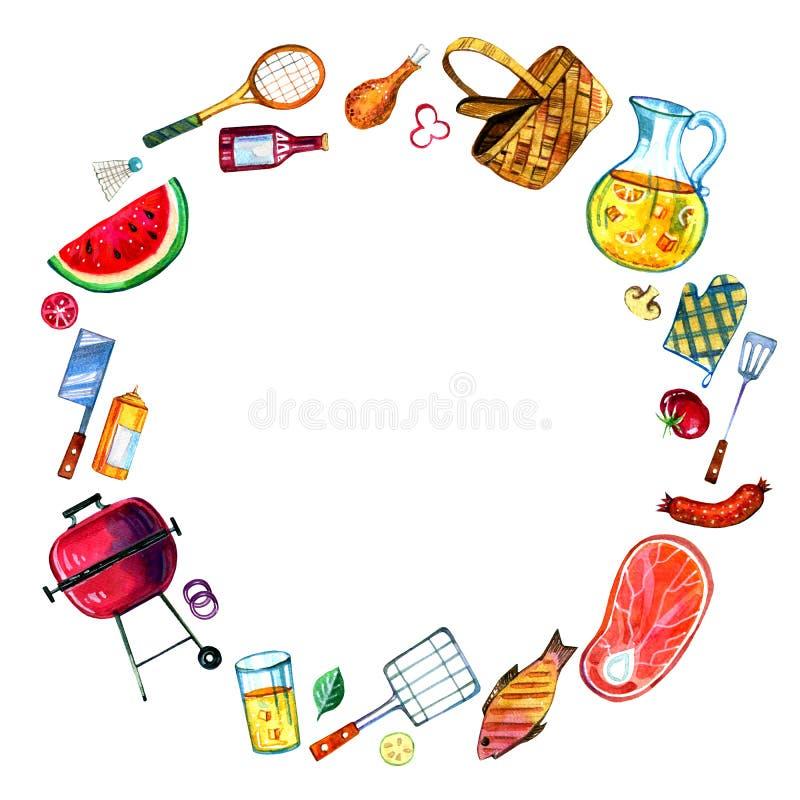 Hand gezeichneter Aquarellsatz verschiedene Gegenstände für Picknick, den Sommer heraus essend und Grill im runden Rahmen vektor abbildung