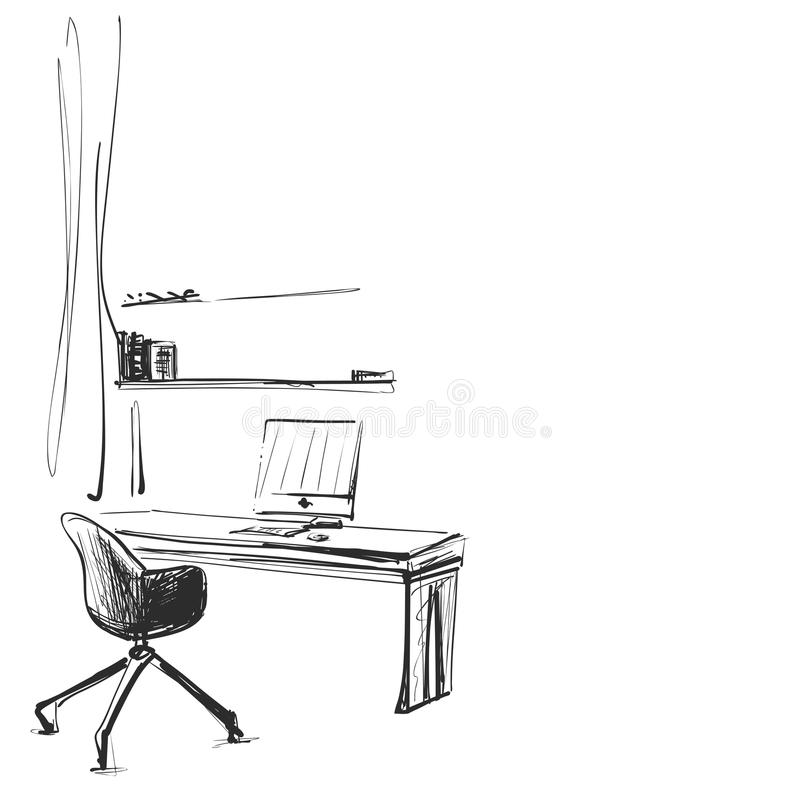 Hand gezeichneter Arbeitsplatz Stuhl- und Computerskizze stock abbildung