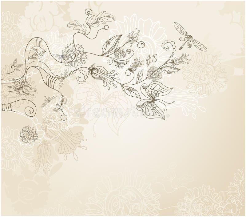 Hand gezeichneter Artblumenhintergrund lizenzfreie abbildung