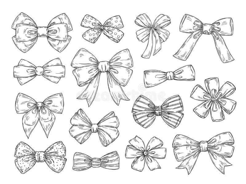 Hand gezeichneter Bogen Modebindung beugt Zusätze, die Skizze gebundene Bänder kritzelt Weinlese lokalisierter Vektorsatz stock abbildung