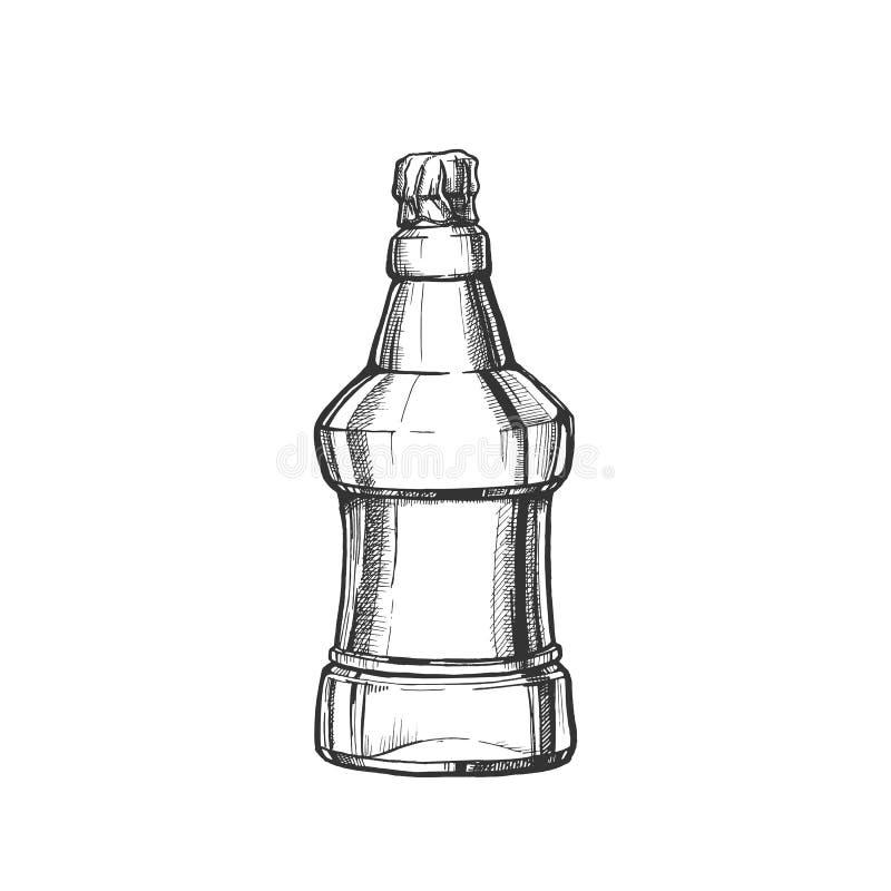 Hand gezeichneter freier Raum prägte Flasche des Bier-Vektors lizenzfreie abbildung