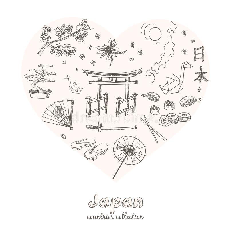 Hand gezeichneter Gekritzel Japan-Symbolsatz lizenzfreie abbildung