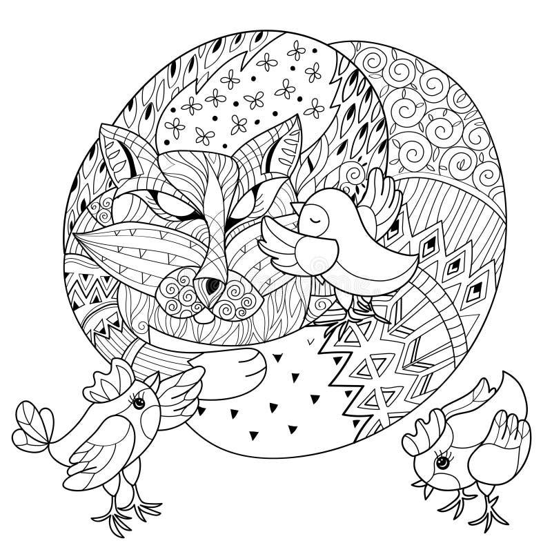 Hand gezeichneter Gekritzelentwurfsfuchs, der mit Huhn schläft lizenzfreie abbildung