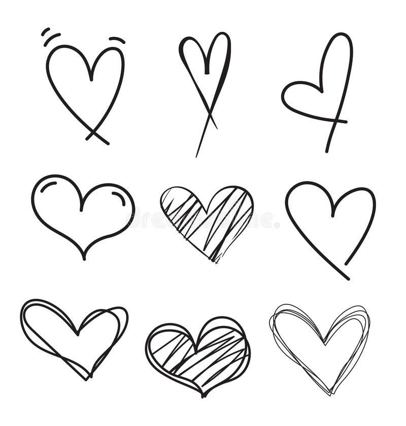 Hand gezeichneter Gekritzelherz-Vektorsatz Raue Markierungsherzen lokalisiert auf weißem Hintergrund Entwurfsvektor-Herzsammlung  vektor abbildung