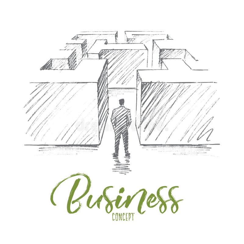 Hand gezeichneter Geschäftsmann im Labyrinth mit Beschriftung lizenzfreie abbildung