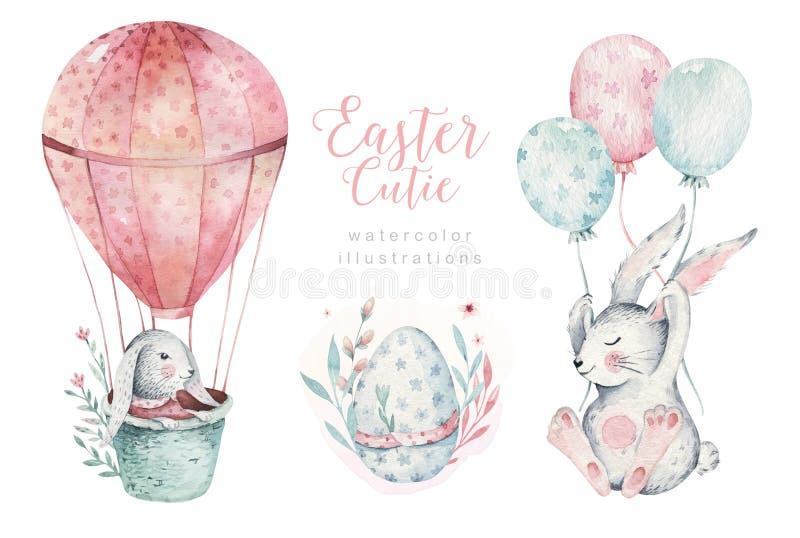 Hand gezeichneter glücklicher Ostern-Satz des Aquarells mit Häschen entwerfen Böhmische Art des Kaninchens, lokalisierte Eiillust stock abbildung